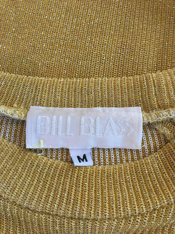 Bill blass Vintage 1970s Metallic Gold Maxi Ribbed Knit Dress  5