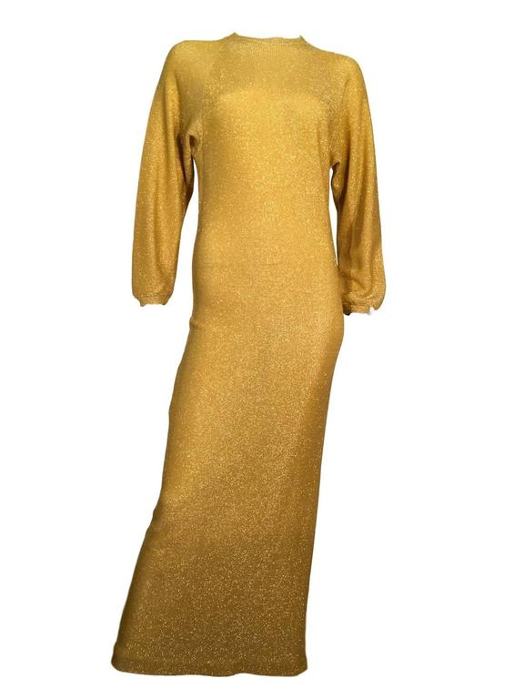 Bill blass Vintage 1970s Metallic Gold Maxi Ribbed Knit Dress  2