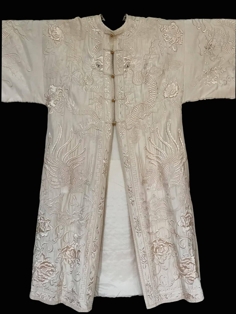 Antique 19th Century Chinese Coat Ivory Silk And