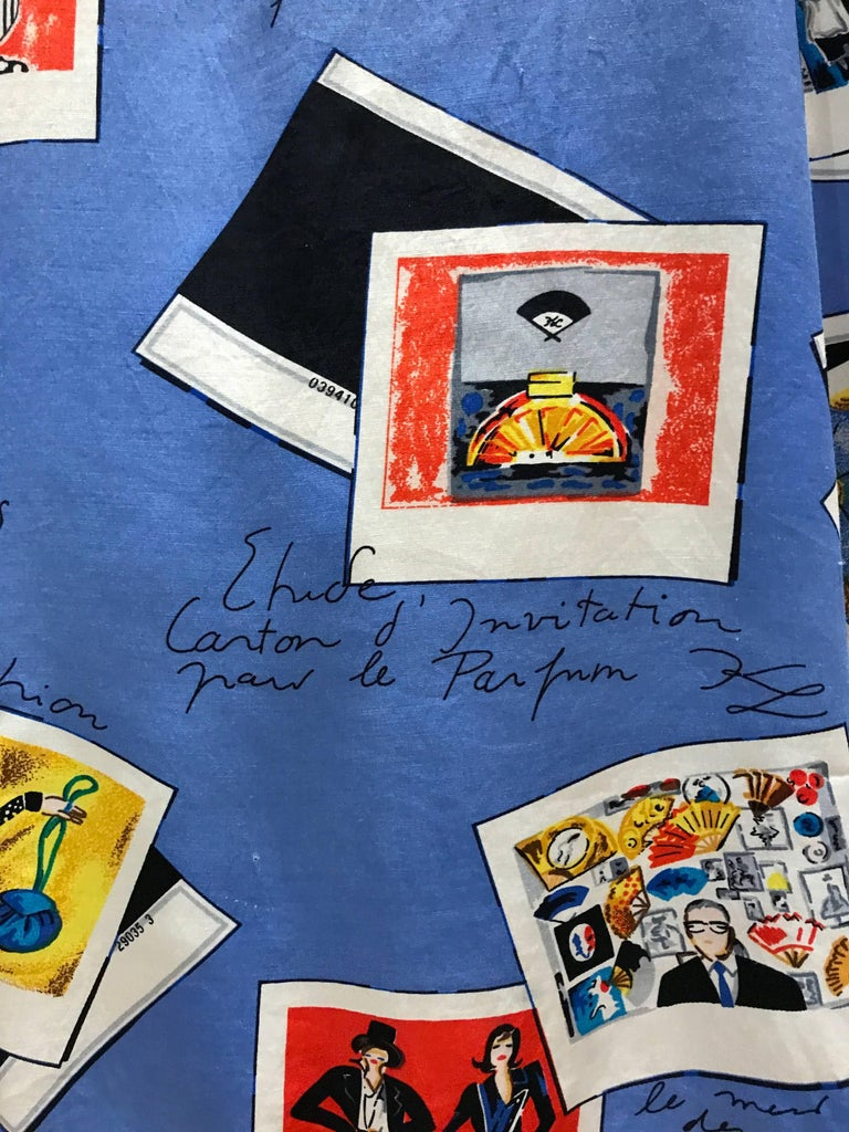 Karl Lagerfeld KL 1990 Rayon Novelty Print Blouse Shirt Polaroids 3