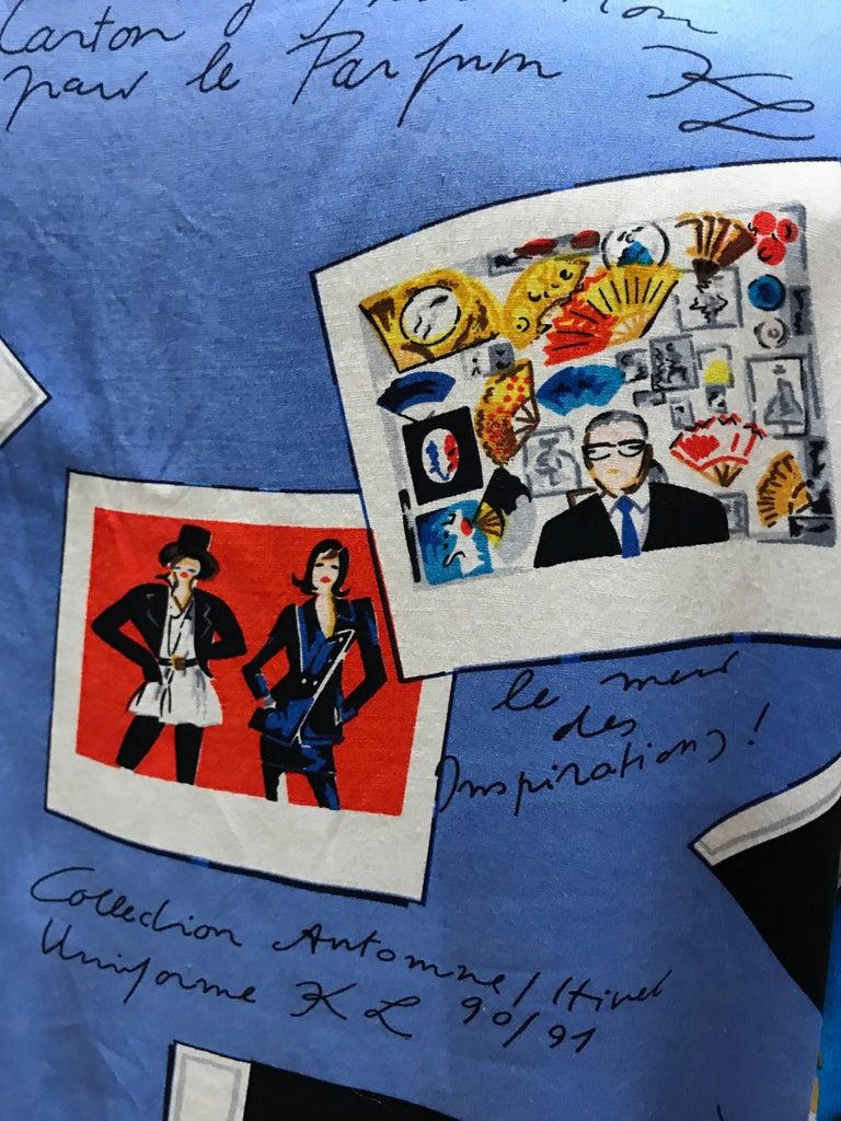 Karl Lagerfeld KL 1990 Rayon Novelty Print Blouse Shirt Polaroids 4