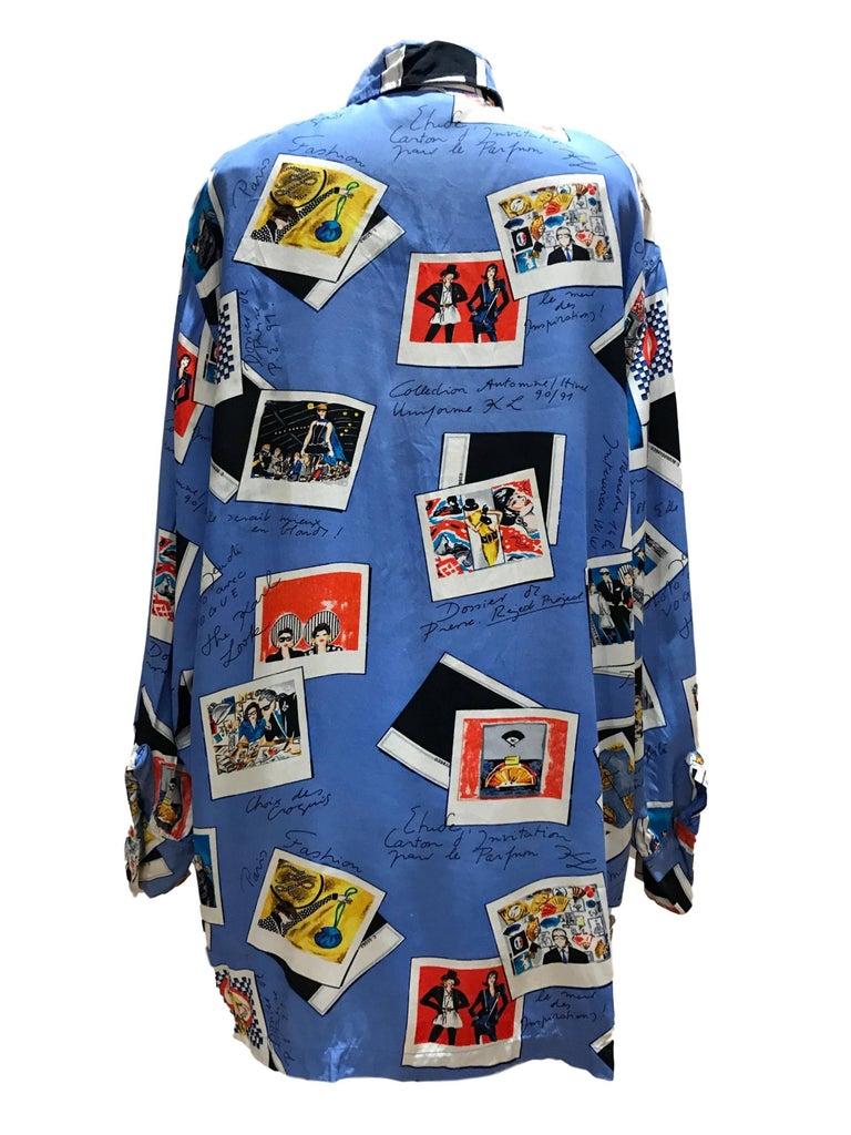 Karl Lagerfeld KL 1990 Rayon Novelty Print Blouse Shirt Polaroids 2