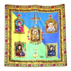 Iconic Gianni Versace Madonna & Child Oversize Silk Scarf Fall 1991