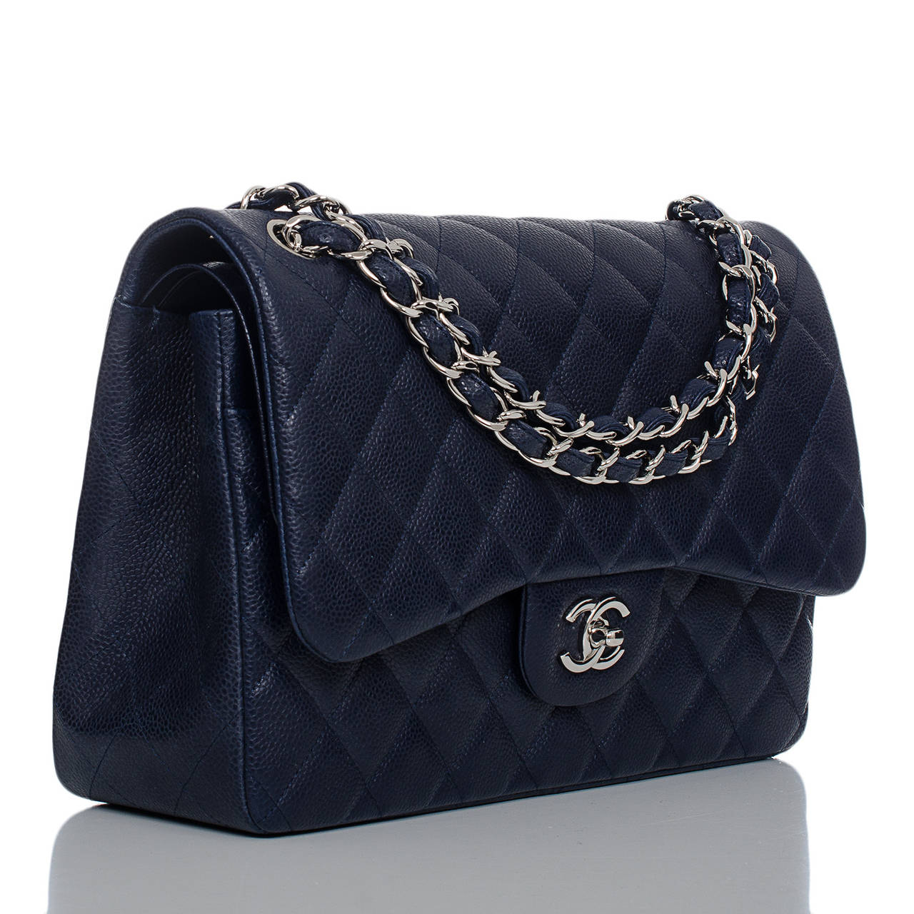 fc8963131e312 Chanel Navy Quilted Caviar Jumbo Classic 2.55 Double Flap Bag at 1stdibs