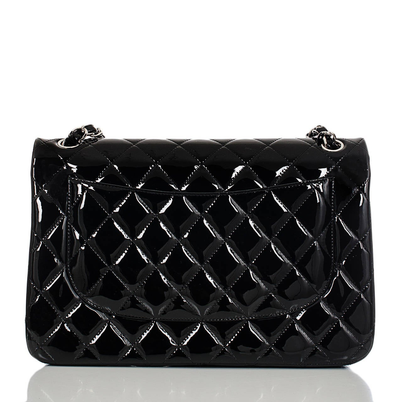 Chanel Black Quilted Patent Jumbo Classic Double Flap Bag In New Never_worn Condition For Sale In New York, NY