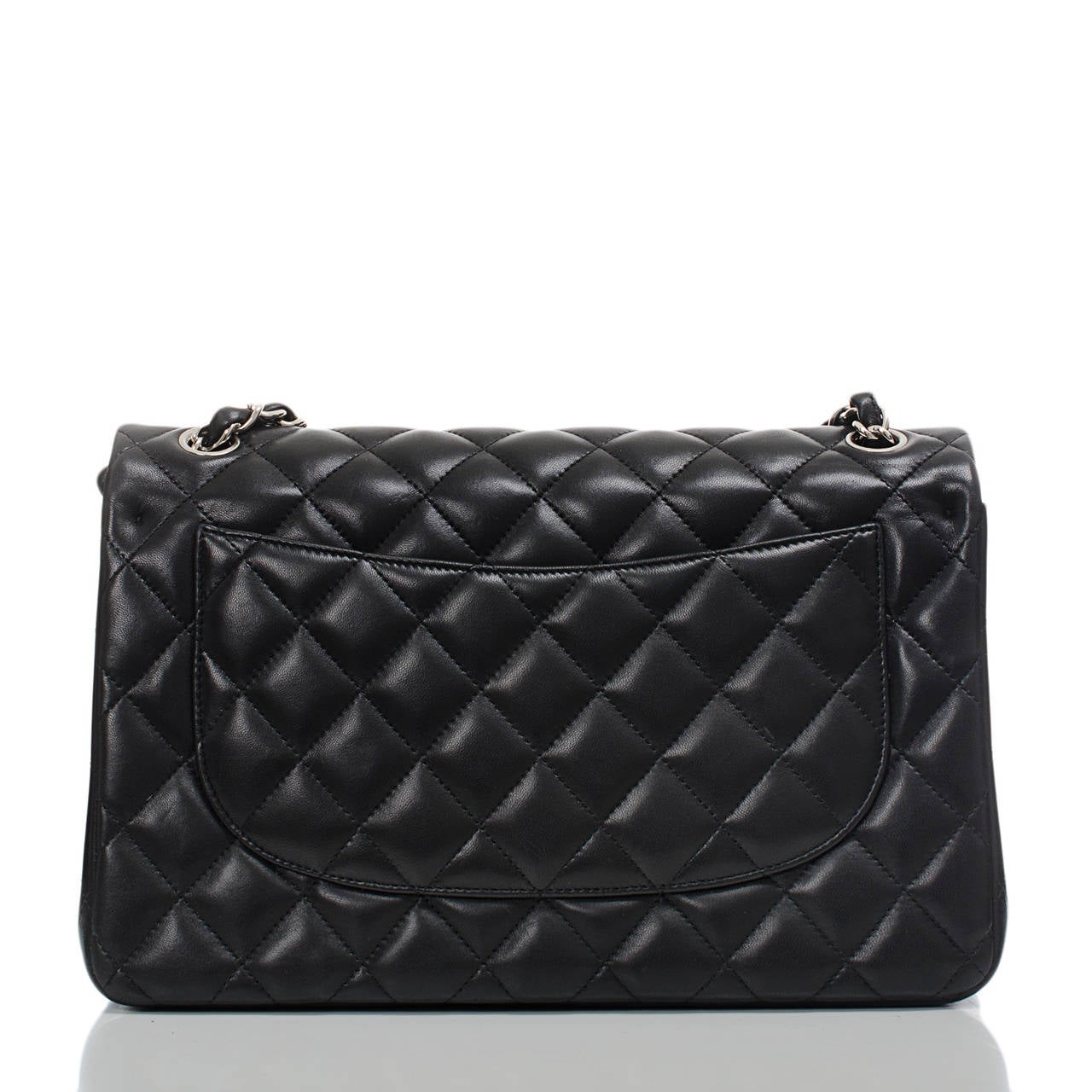Chanel Black Quilted Lambskin Jumbo Classic Double Flap Bag In New never worn Condition For Sale In New York, NY