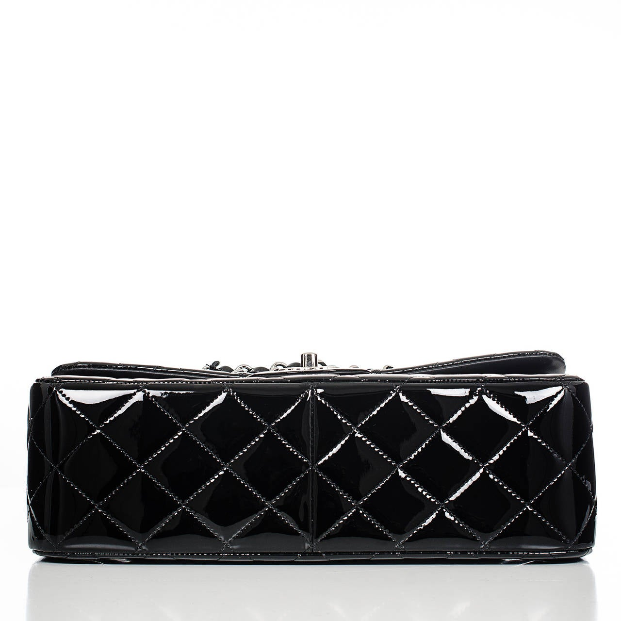 Women's Chanel Black Quilted Patent Jumbo Classic Double Flap Bag For Sale