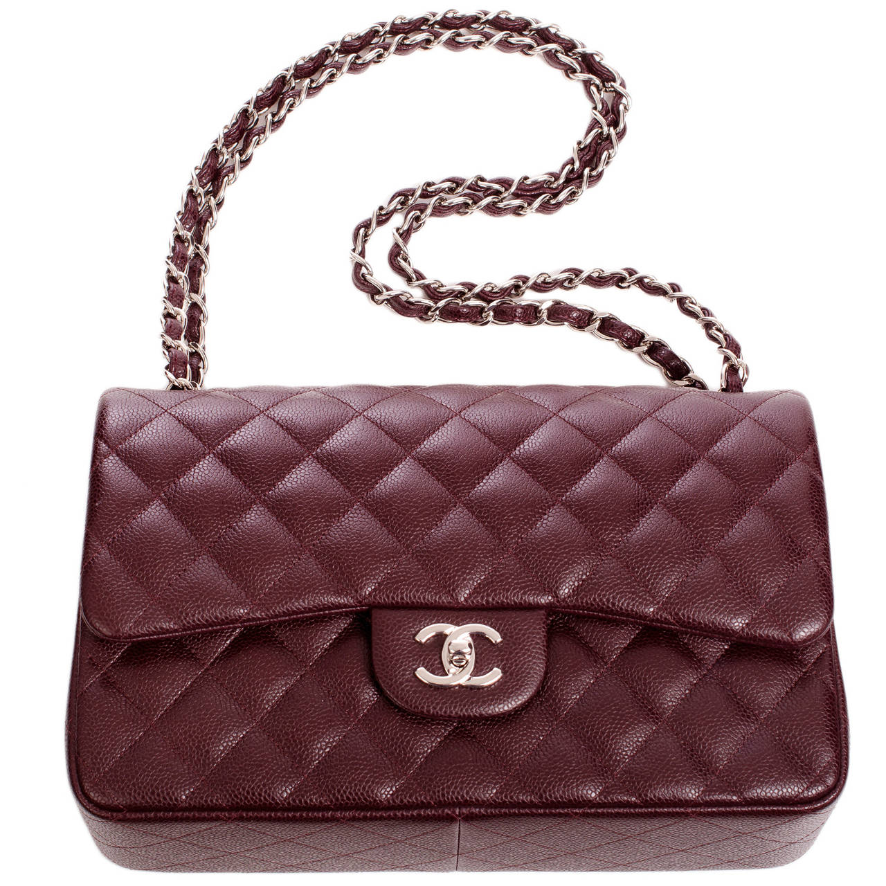 chanel burgundy quilted caviar jumbo classic flap
