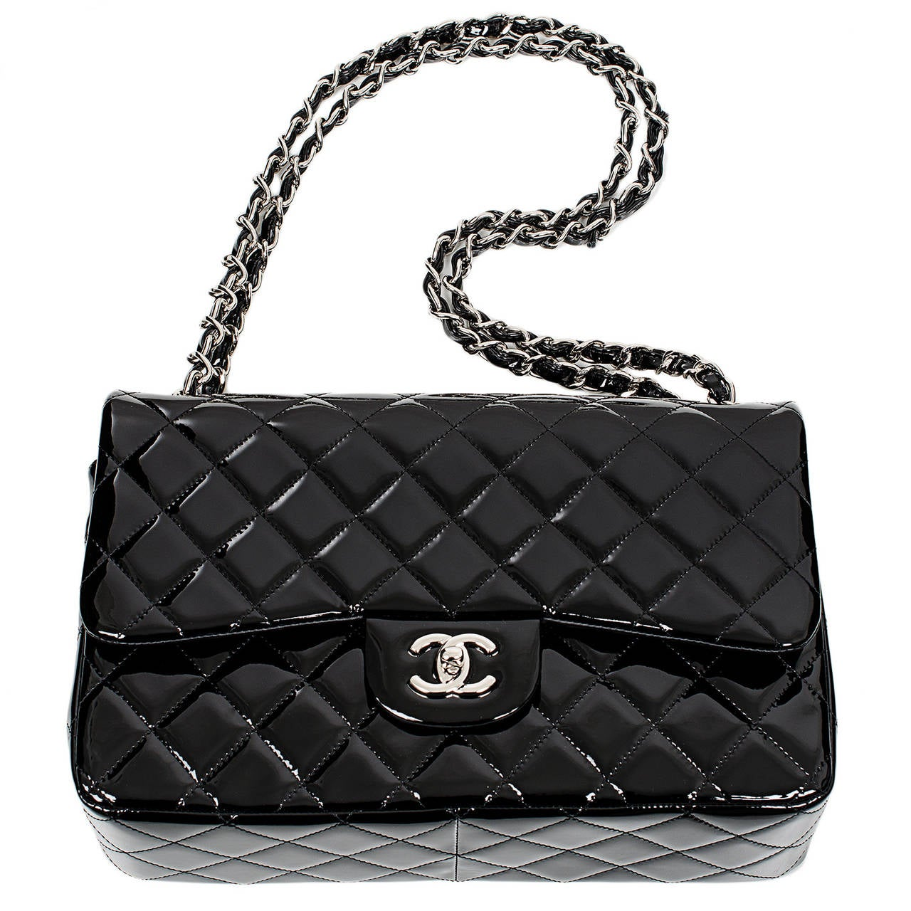 Chanel Black Quilted Patent Jumbo Classic Double Flap Bag For Sale 1