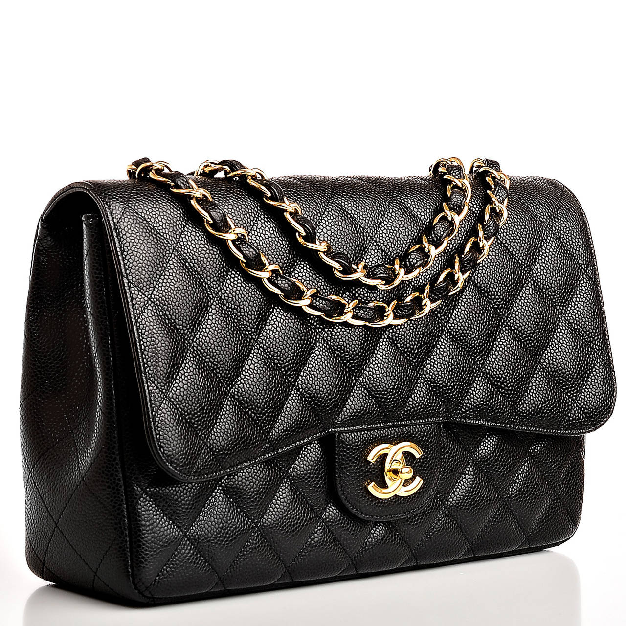chanel black quilted caviar jumbo classic flap bag gold