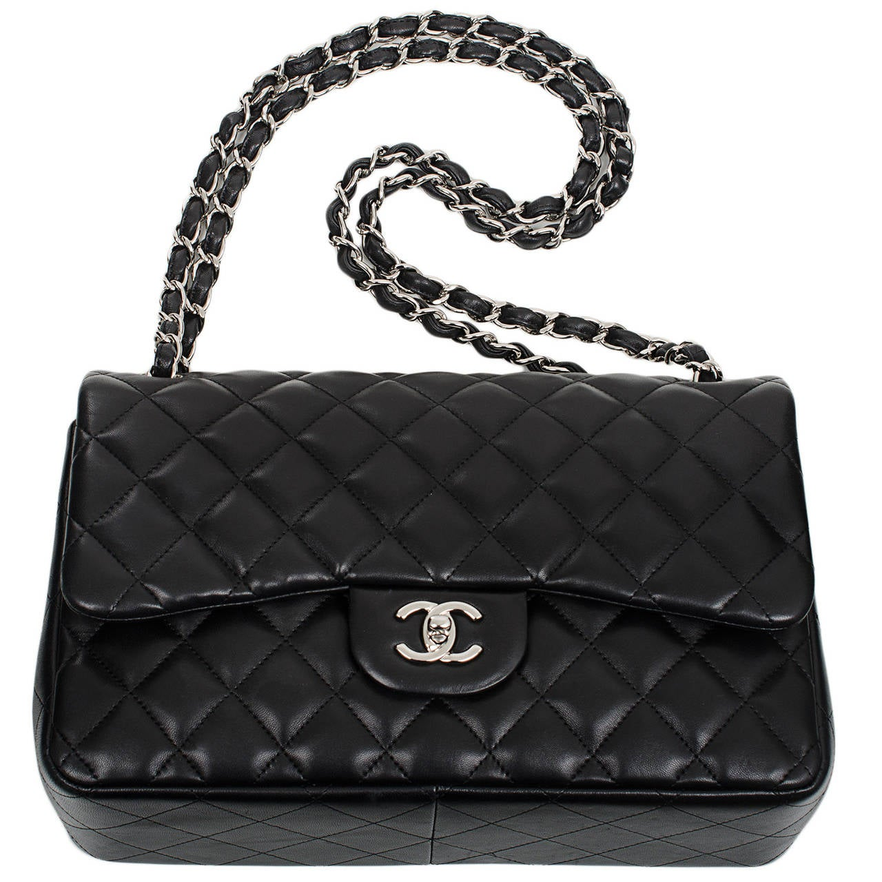 Chanel Black Quilted Lambskin Jumbo Classic Double Flap Bag For Sale 1