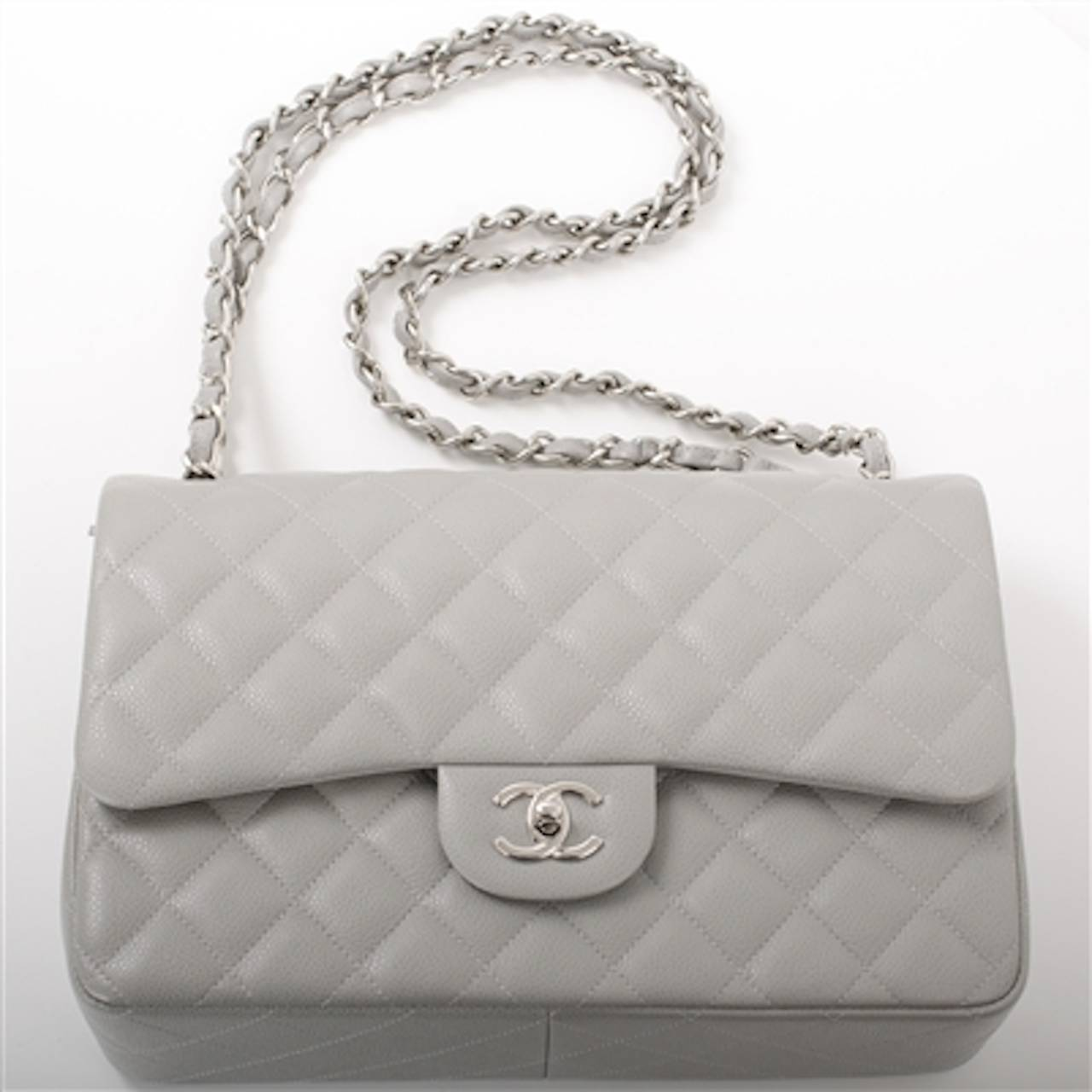 Grey Quilted Chanel Bag Chanel Light Grey Quilted