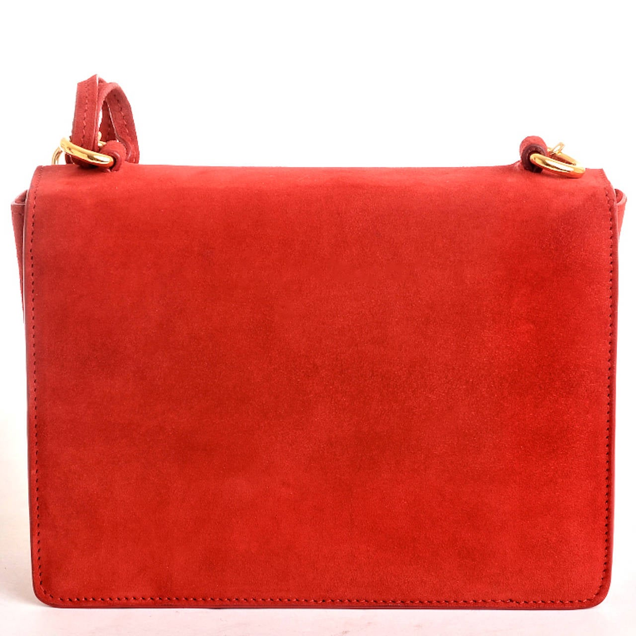 Ralph Lauren Red Suede Ricky Chain Bag In New never worn Condition For Sale In New York, NY