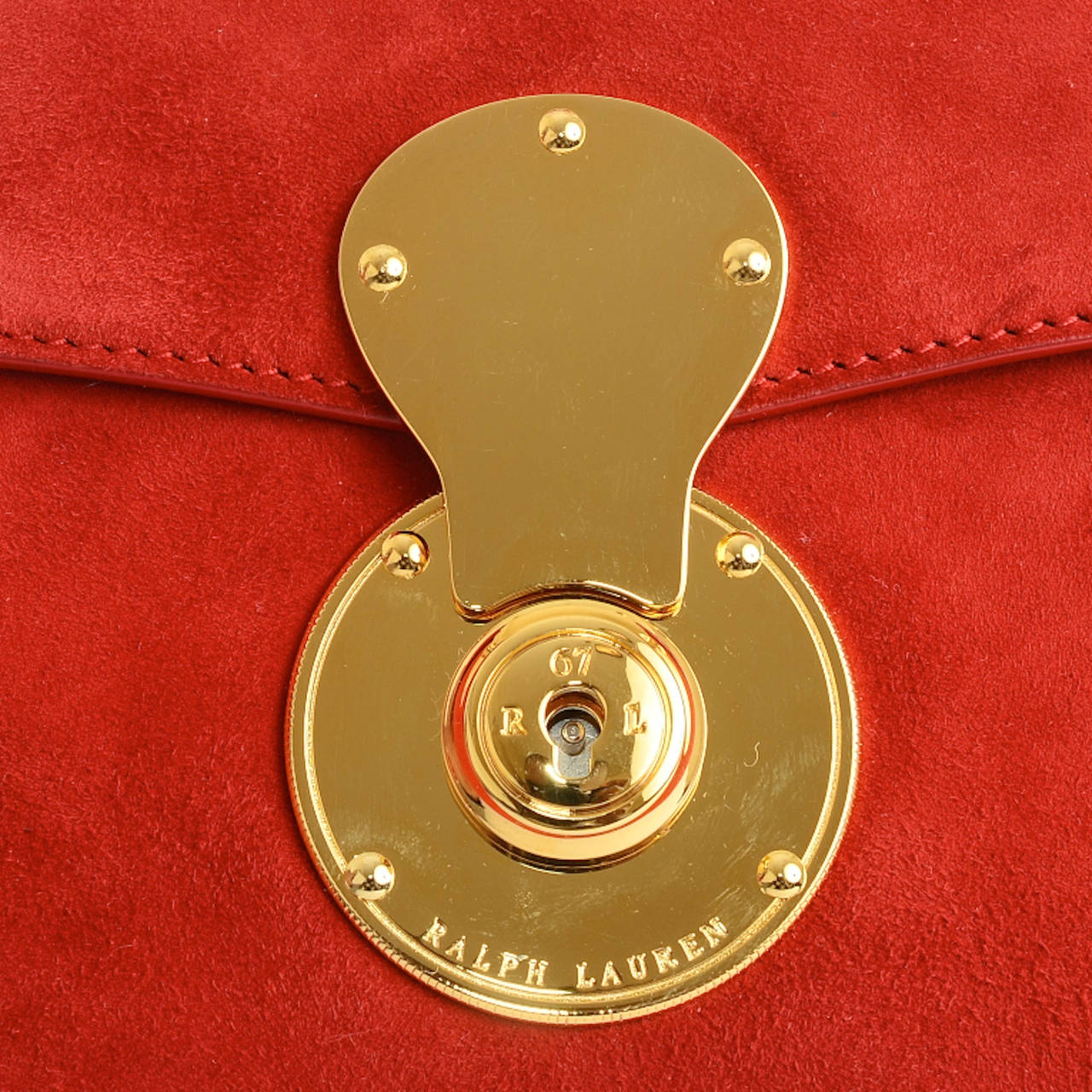 Ralph Lauren Red Suede Ricky Chain Bag For Sale 1