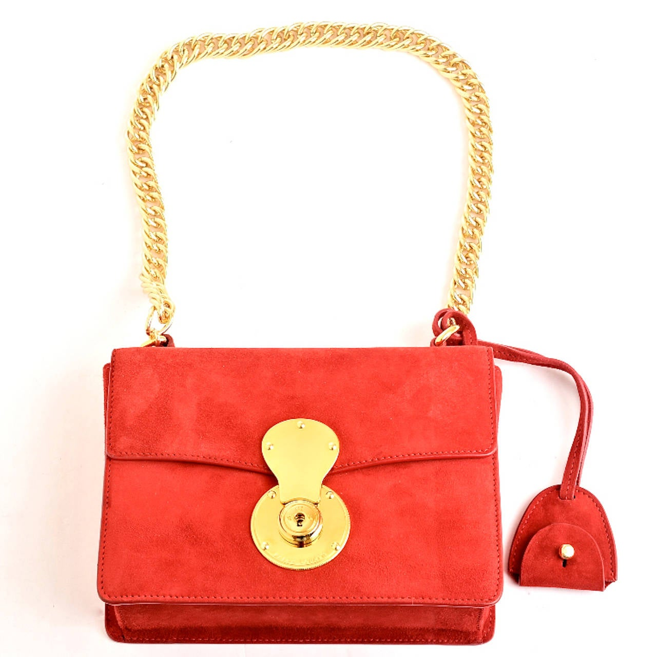 Ralph Lauren Red Suede Ricky Chain Bag For Sale 2