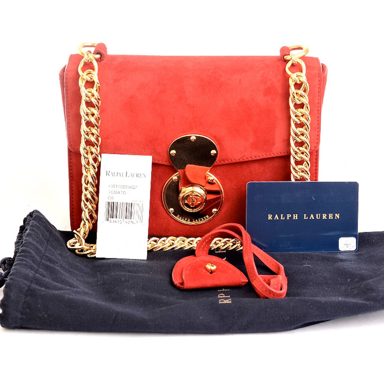 Ralph Lauren Red Suede Ricky Chain Bag For Sale 5