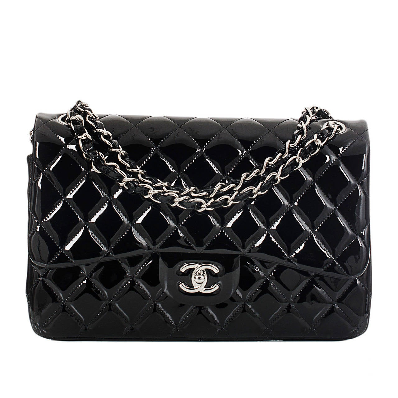 Chanel Black Quilted Patent Jumbo Classic Double Flap Bag For Sale