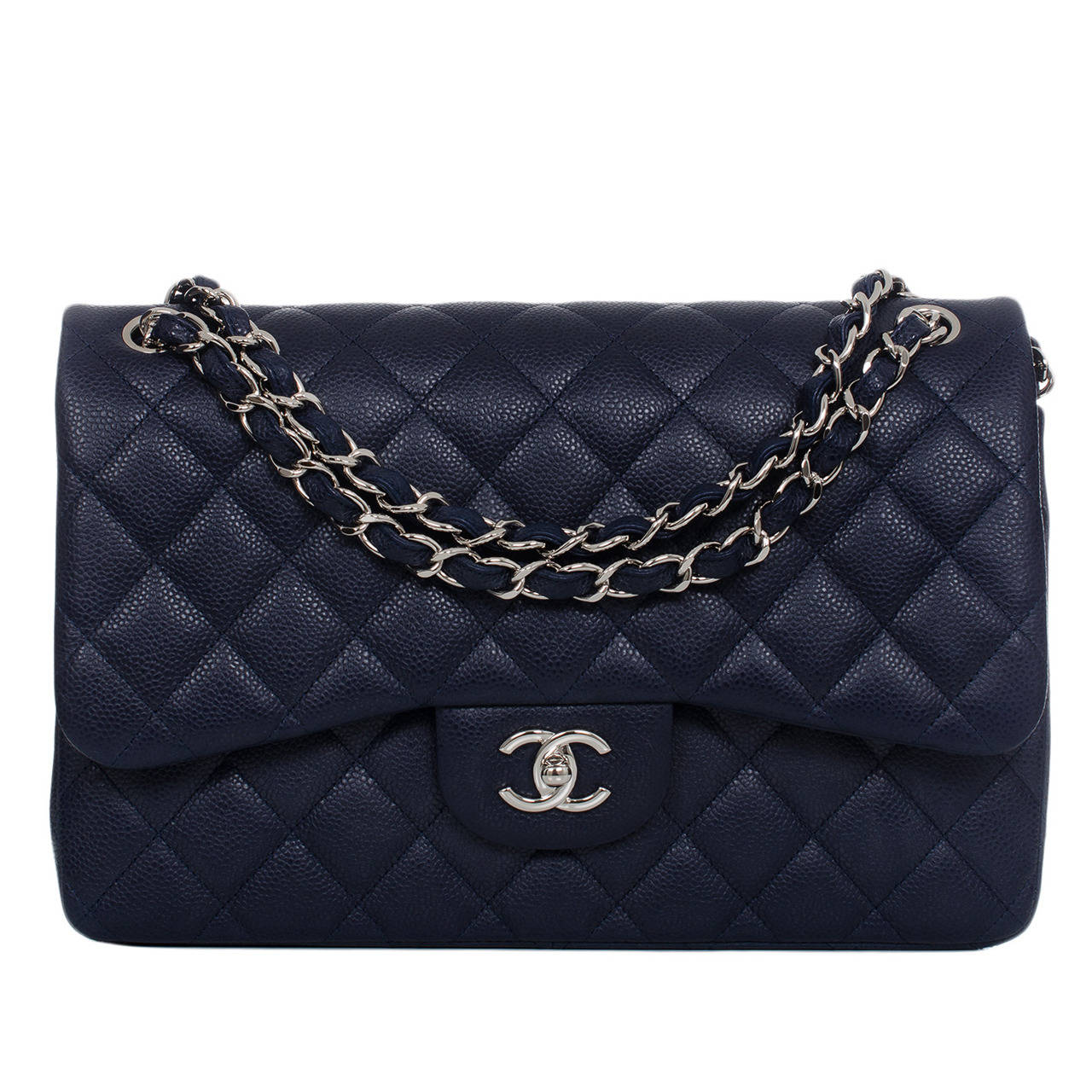 67b9abbb1cea Chanel Navy Quilted Caviar Jumbo Classic 2.55 Double Flap Bag at 1stdibs