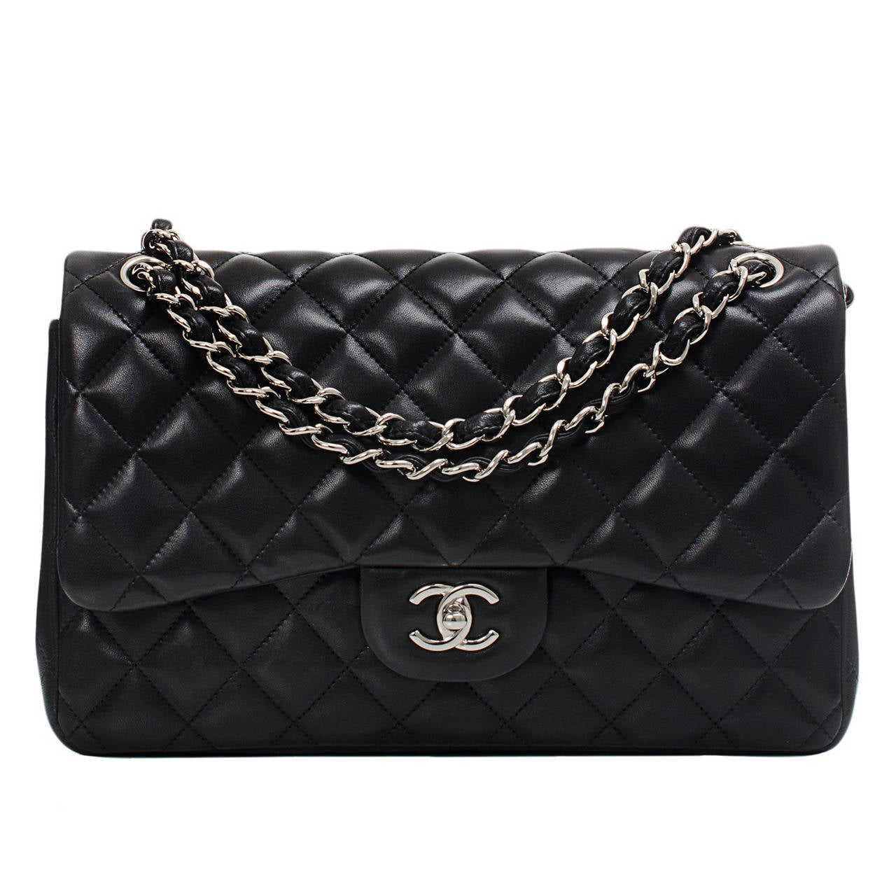 Chanel Black Quilted Lambskin Jumbo Classic Double Flap Bag For Sale