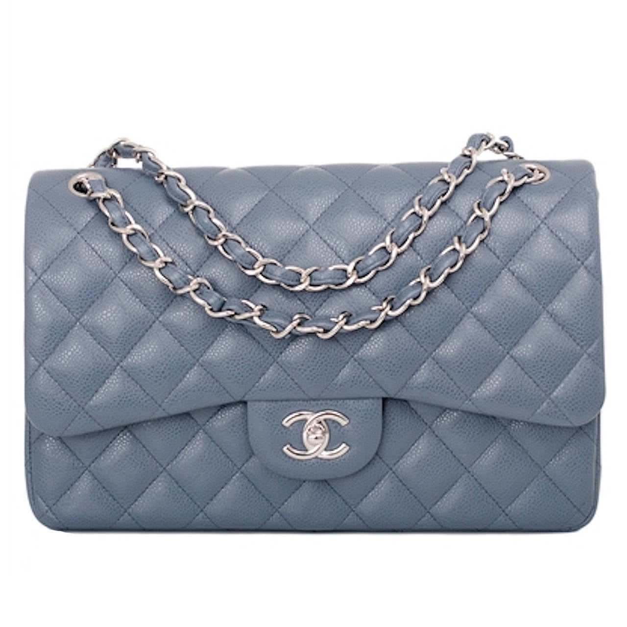 Chanel Blue Quilted Caviar Jumbo Classic 2 55 Double Flap