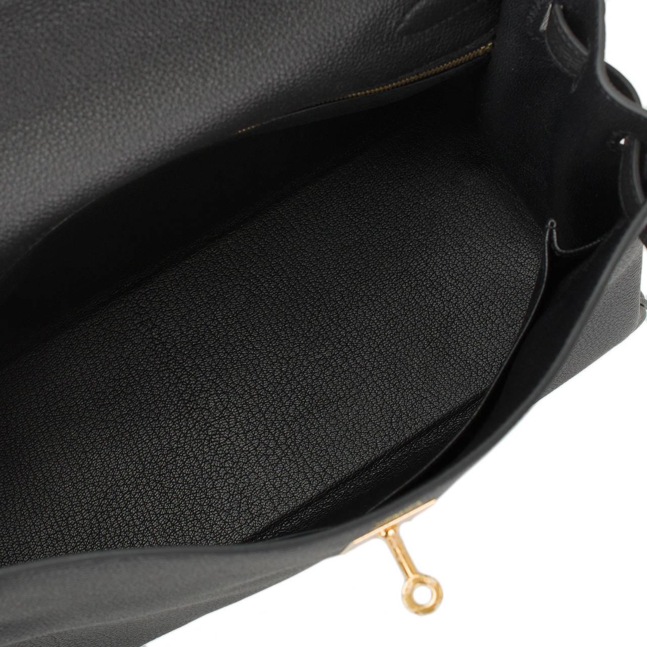 Hermes Black Togo Kelly 32cm Gold Hardware at 1stdibs