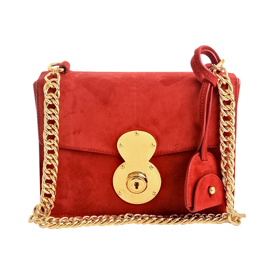 Ralph Lauren Red Suede Ricky Chain Bag For Sale