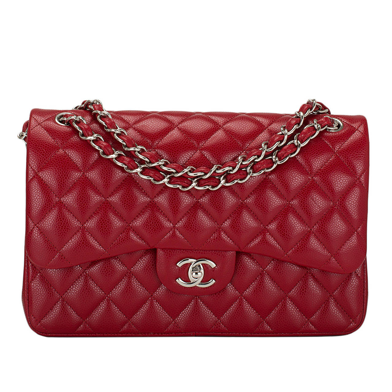 chanel red quilted caviar jumbo classic double flap bag at 1stdibs