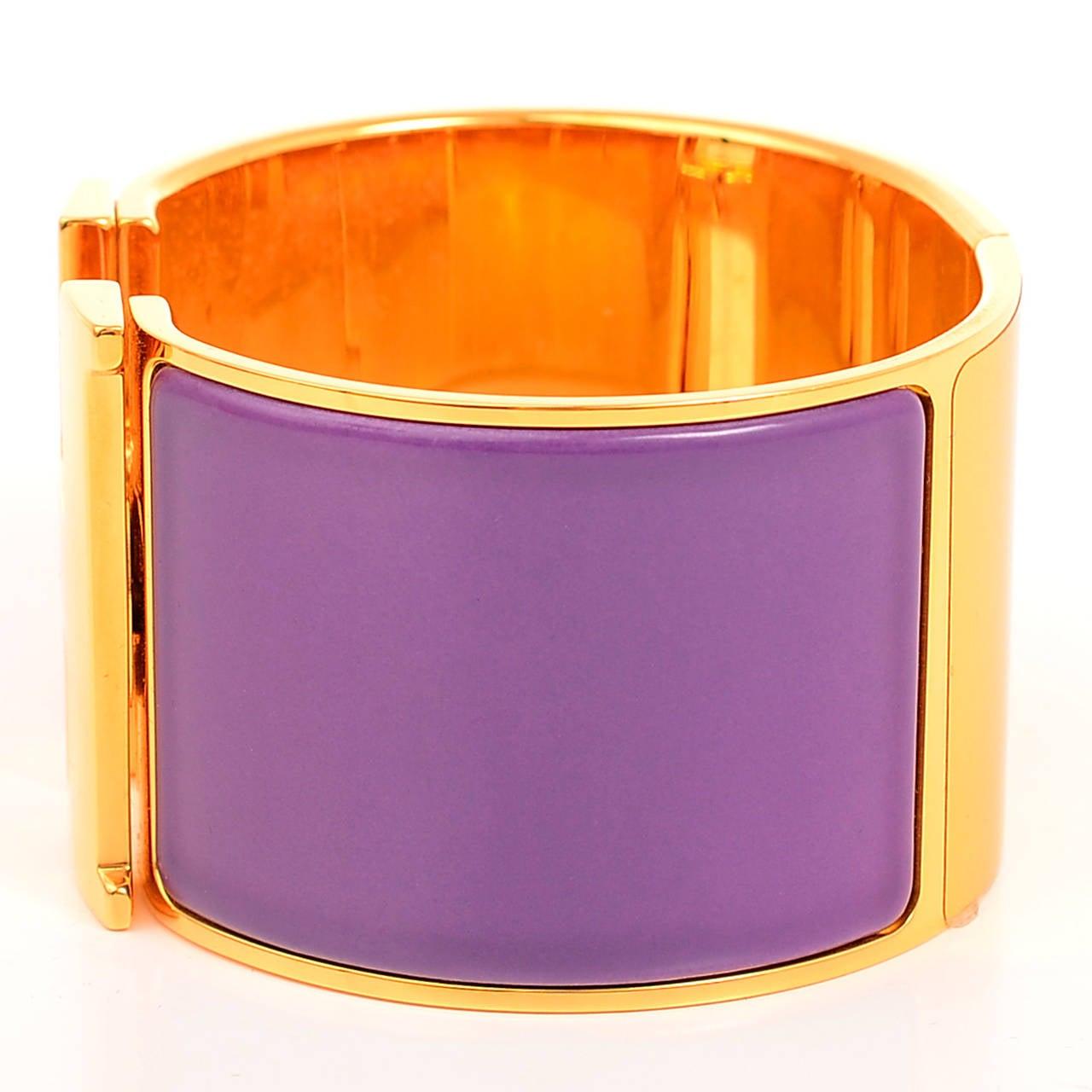 hermes mauve clic clac h wide enamel bracelet pm image 2