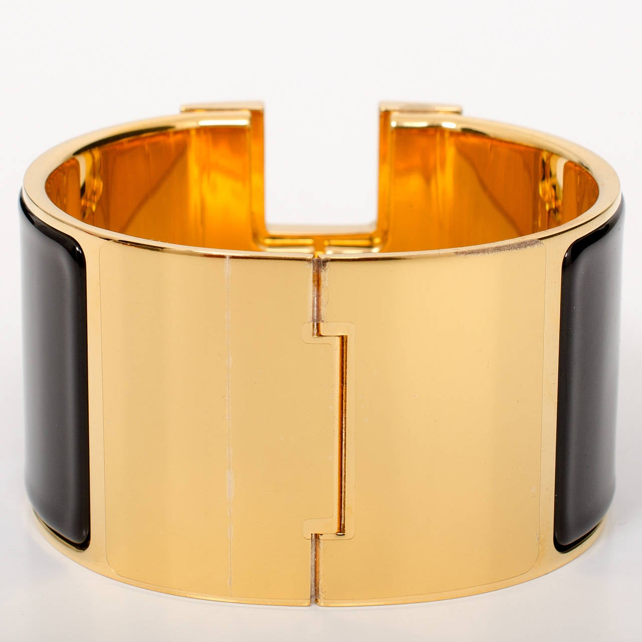 Hermes black clic clac h extra wide enamel bracelet pm at 1stdibs - Dimensions clic clac ...