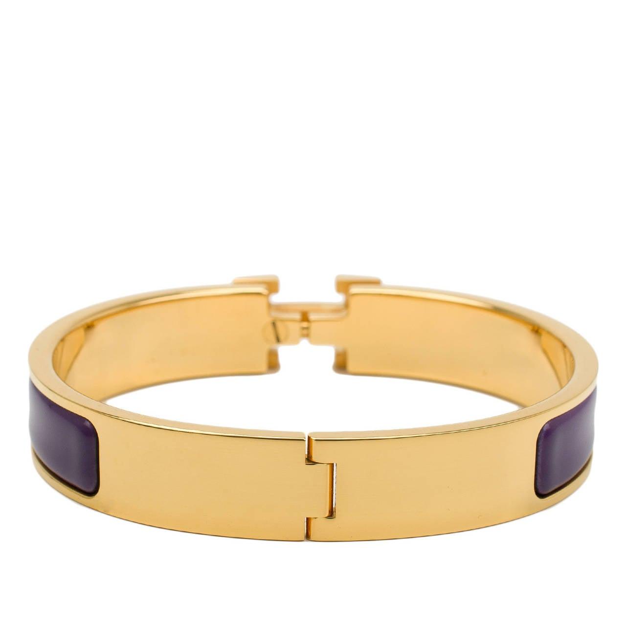 hermes purple clic clac h narrow enamel bracelet gm at 1stdibs