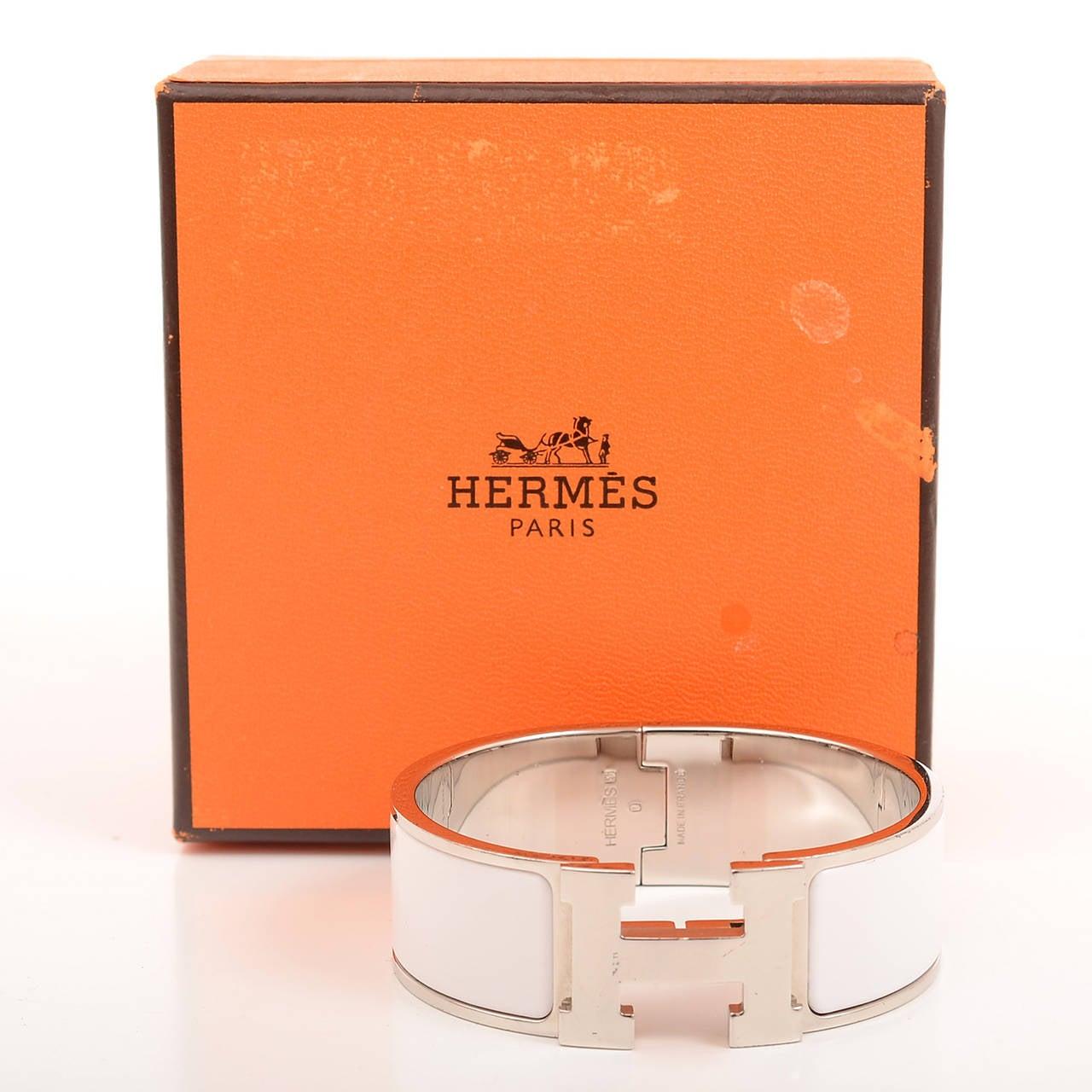 hermes white clic clac h wide enamel bracelet pm image 4