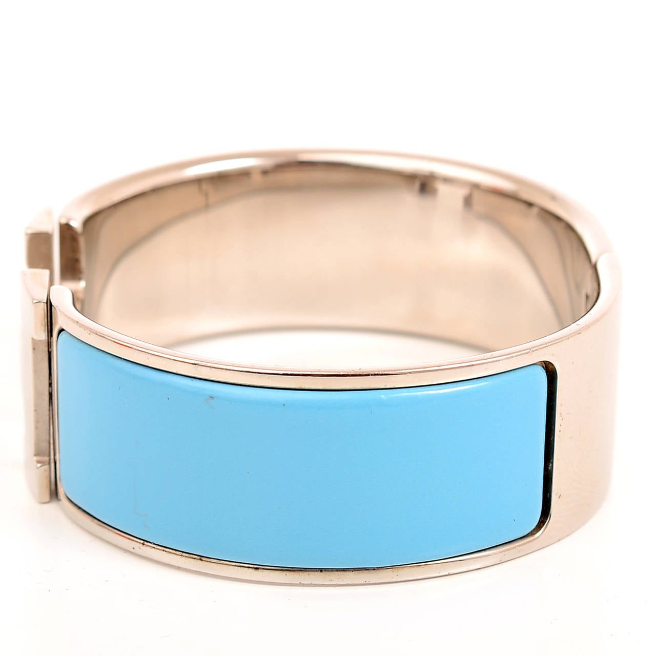 Hermes turquoise clic clac h wide enamel bracelet pm at - Housse clic clac turquoise ...