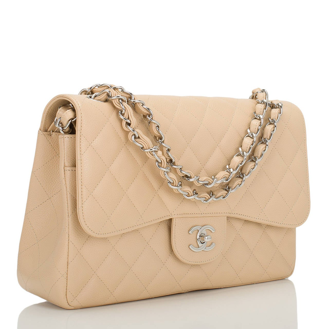 8ad982f41cfdaf Chanel Beige Quilted Caviar Jumbo Classic Double Flap Bag at 1stdibs