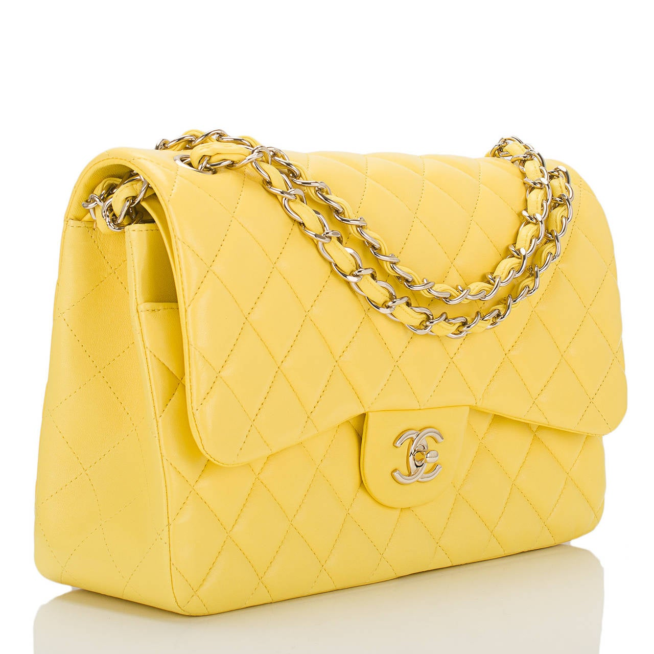Chanel Bright Yellow Quilted Lambskin Jumbo Classic Double