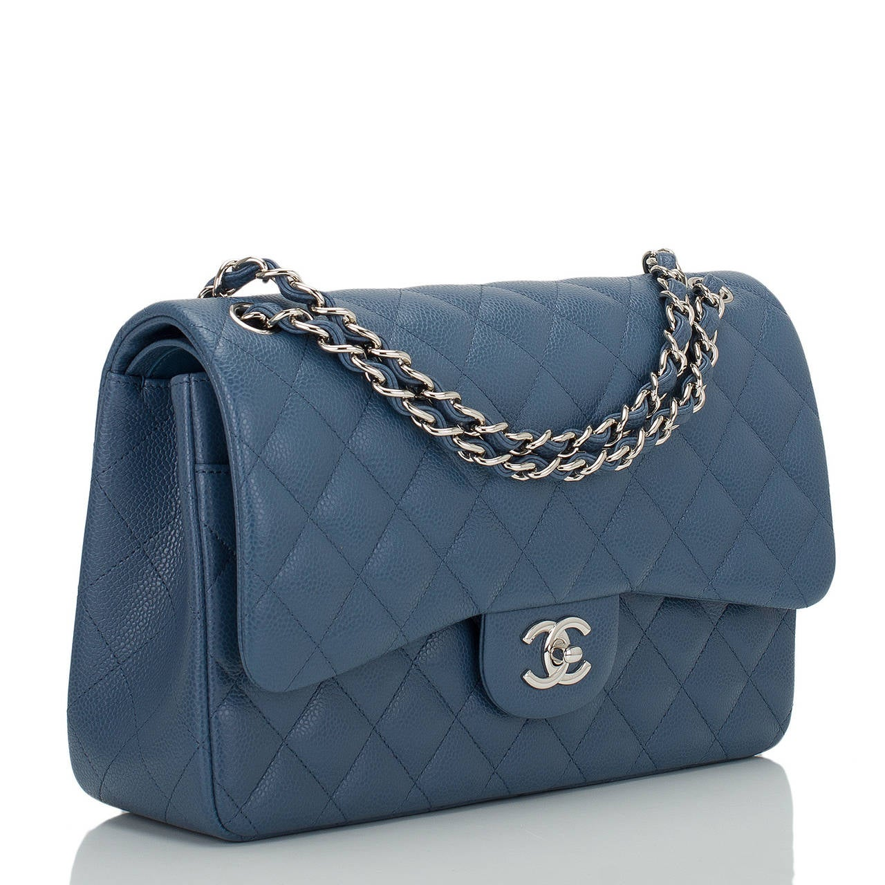 Chanel Blue Quilted Caviar Jumbo Classic Double Flap Bag