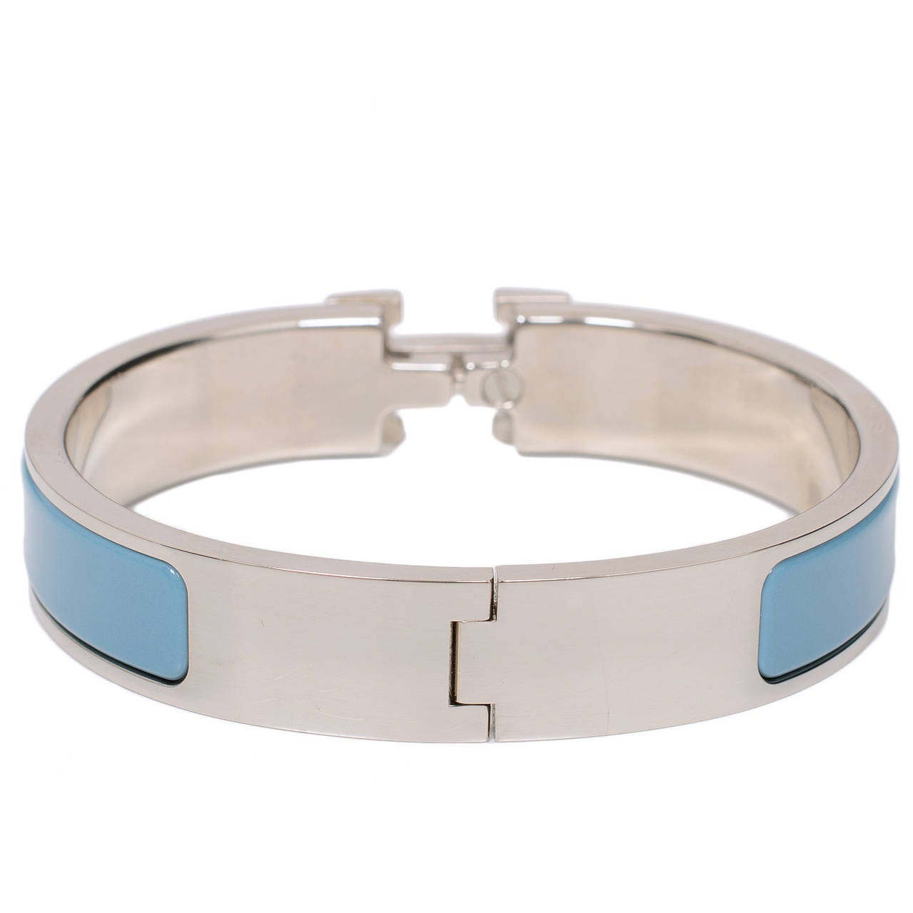 Hermes blue indien white enamel h clic clac h narrow for Housse clic clac new york