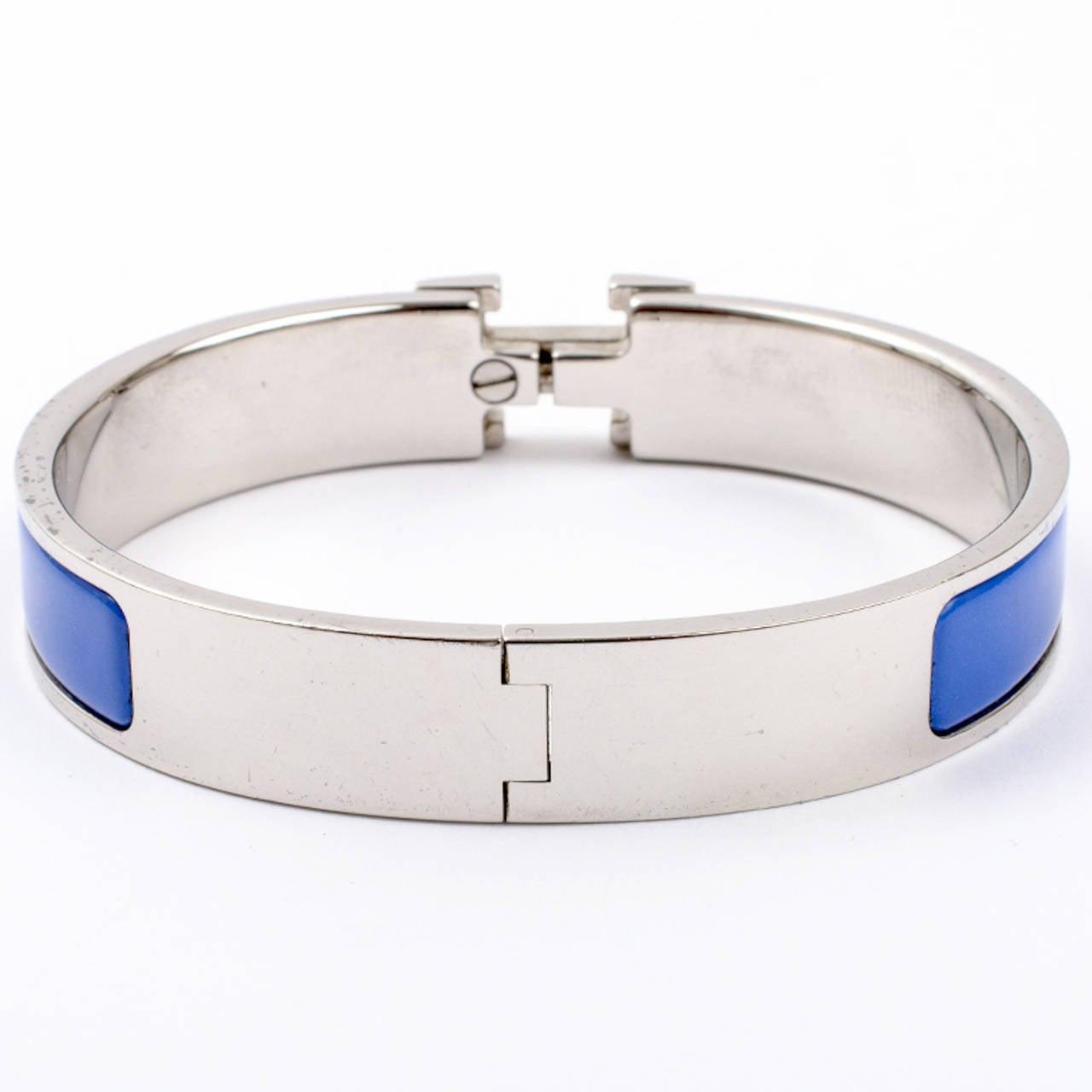 Hermes royal blue clic clac h narrow enamel bracelet gm at for Housse clic clac new york