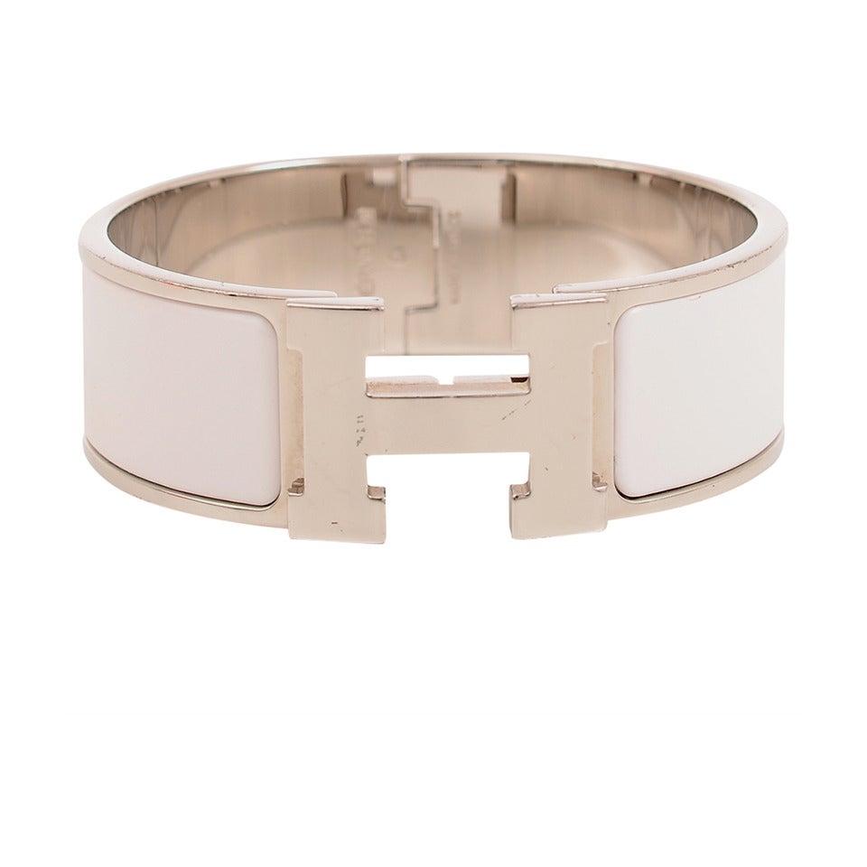 hermes white clic clac h wide enamel bracelet pm