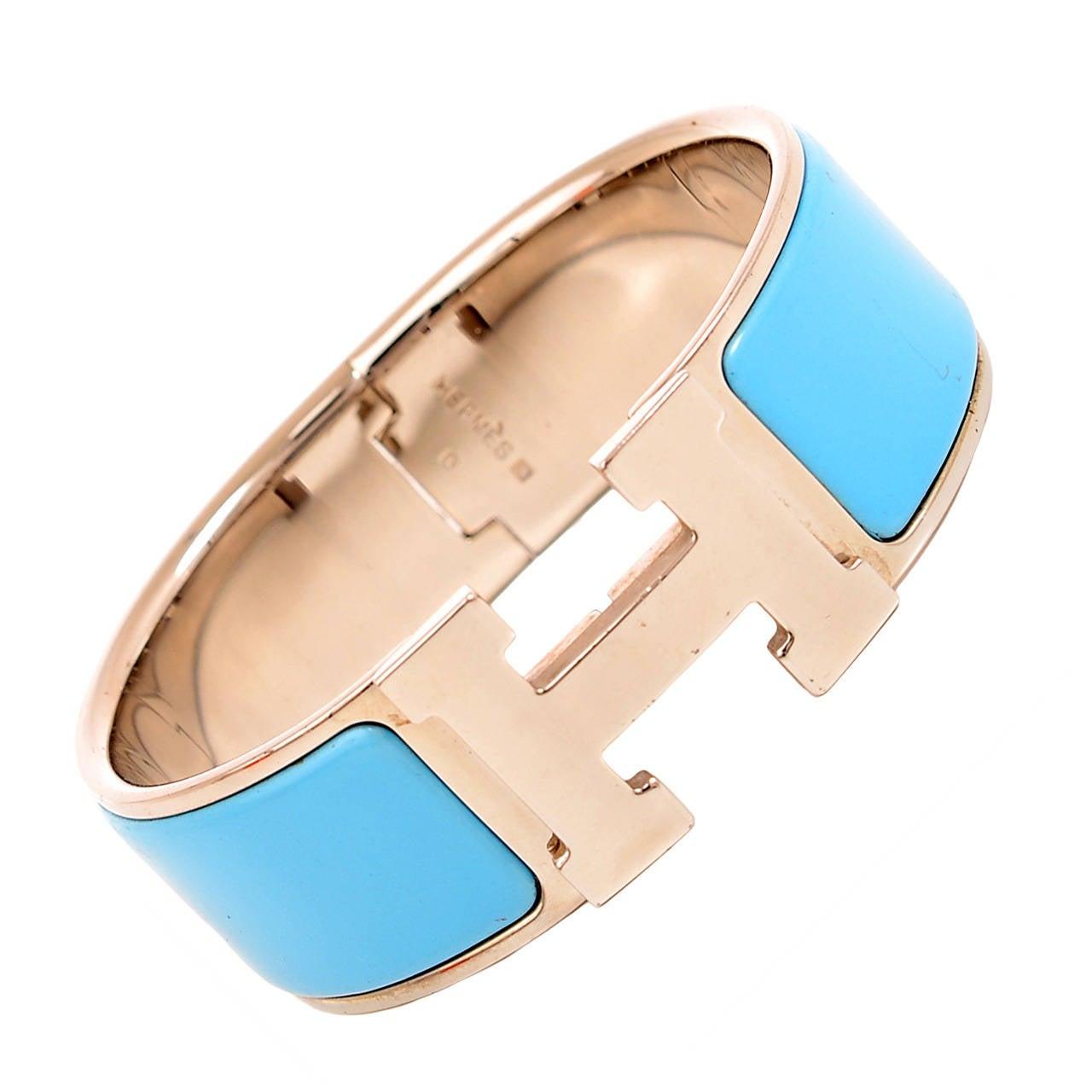 hermes turquoise clic clac h wide enamel bracelet pm at. Black Bedroom Furniture Sets. Home Design Ideas