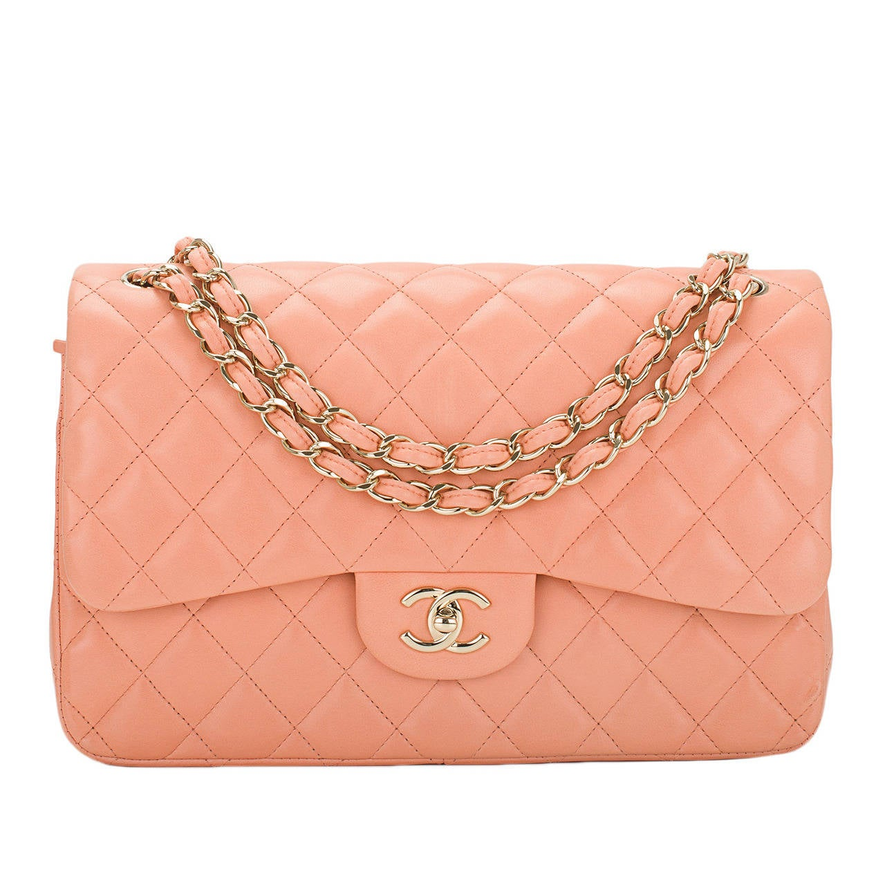 Chanel Peach Quilted Lambskin Jumbo Classic Double Flap