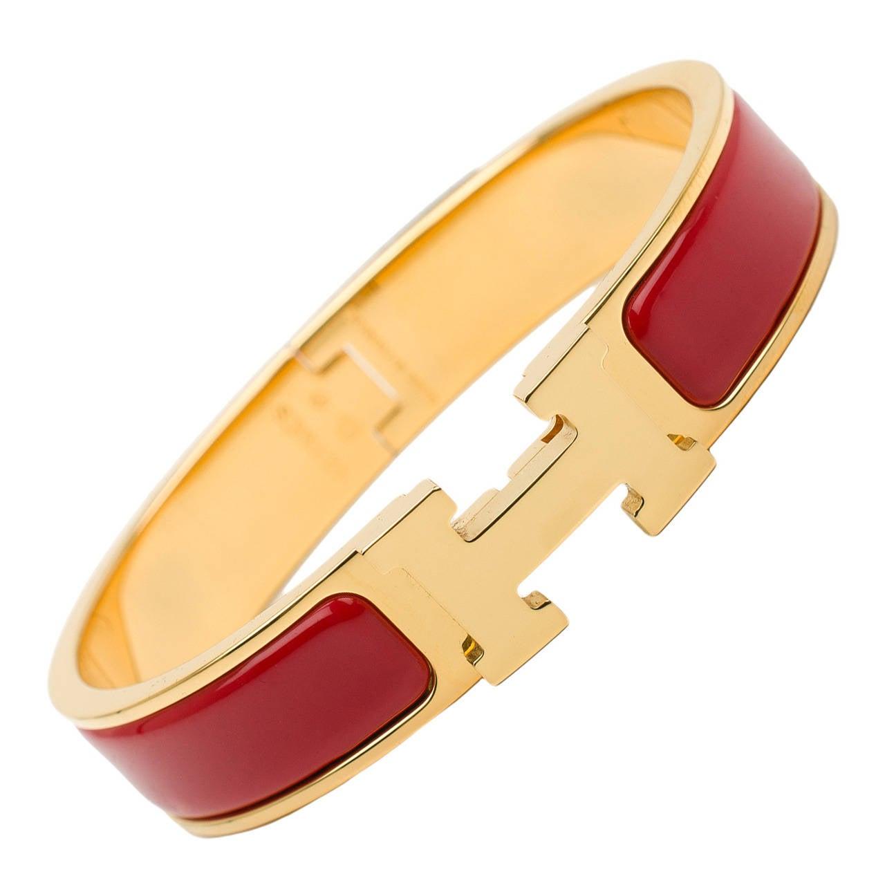 Hermes Amaranth Red Clic Clac H Narrow Enamel Bracelet Pm