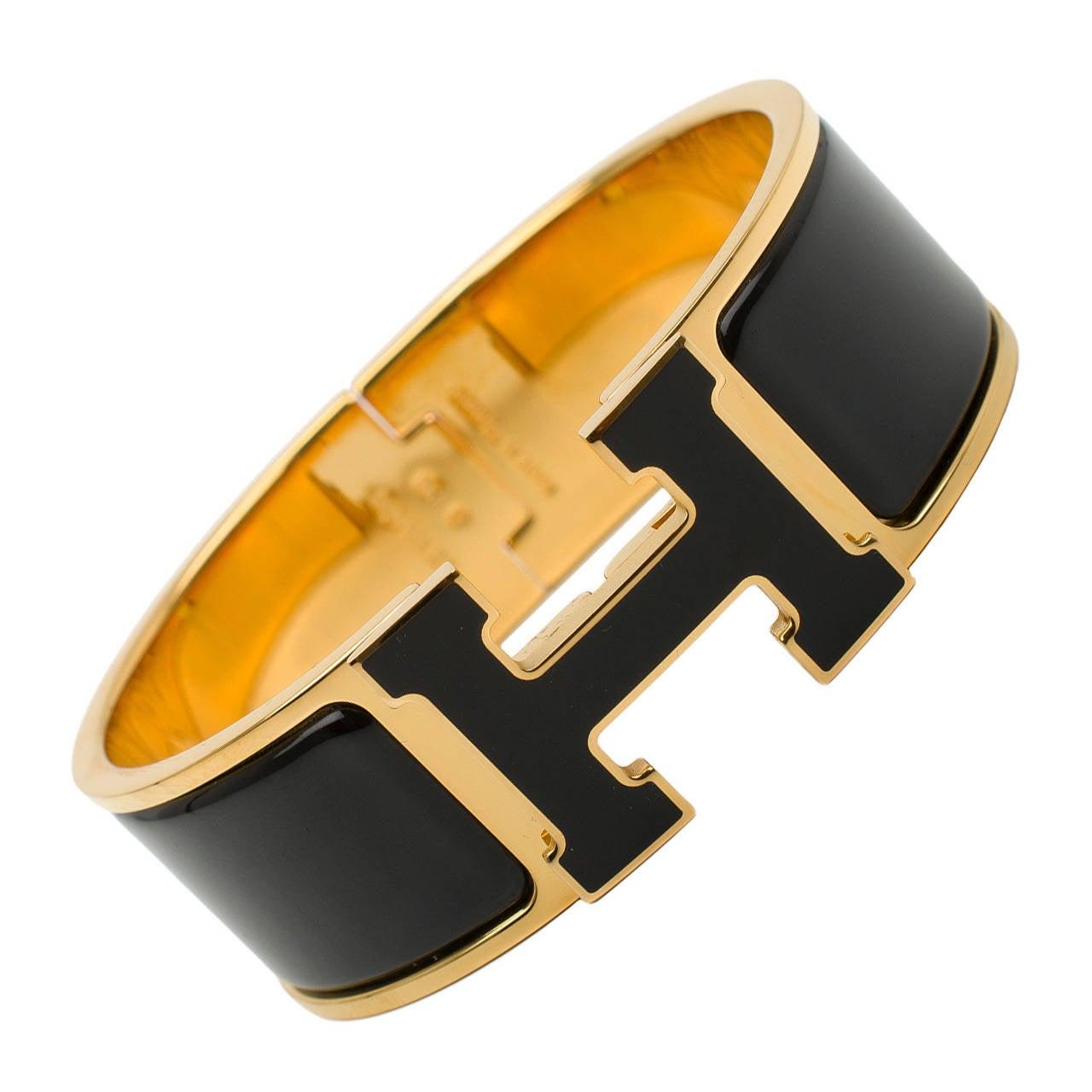 hermes black black h clic clac h wide enamel bracelet gm. Black Bedroom Furniture Sets. Home Design Ideas
