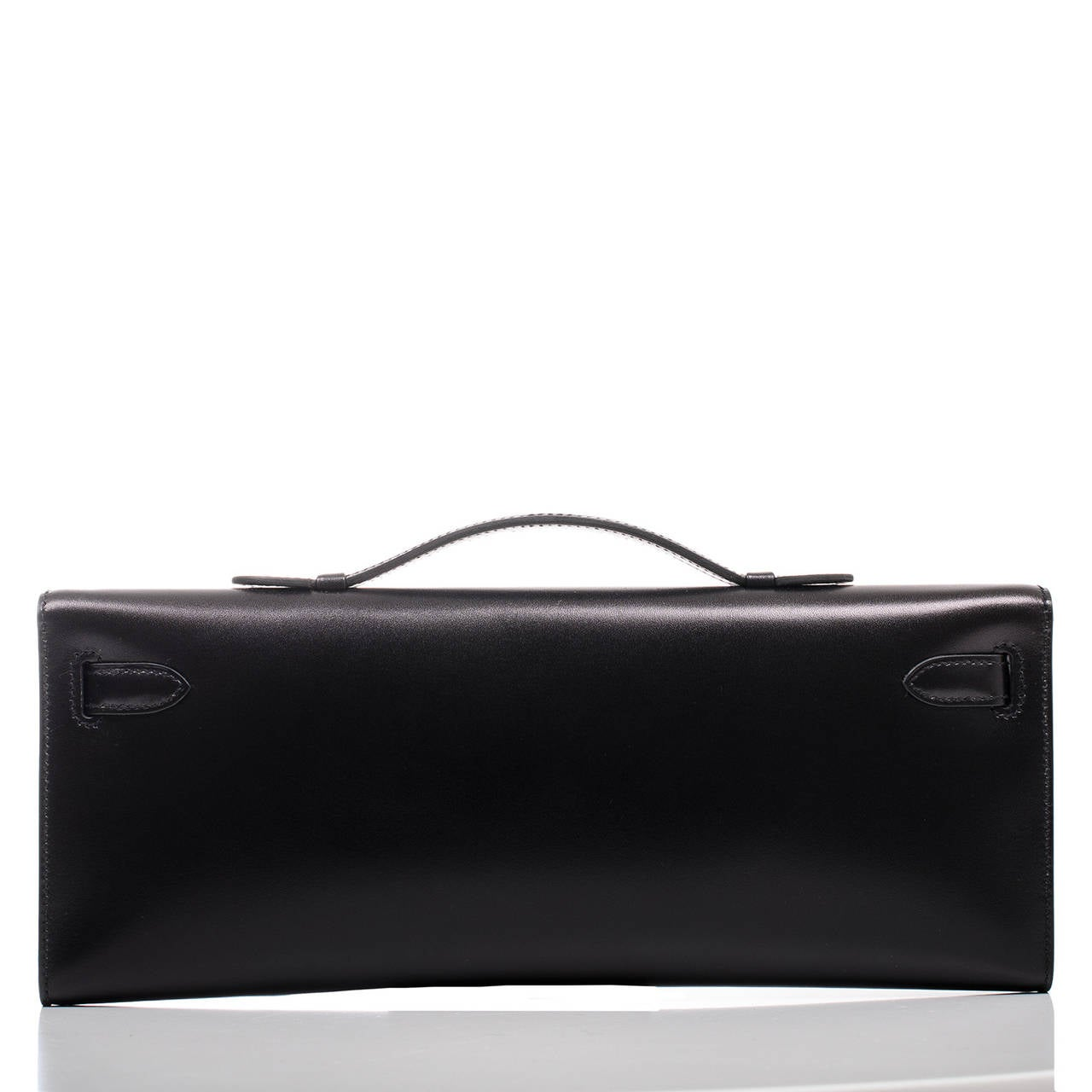 hermes kelly cut box bag in black with palladium guilloche hardware