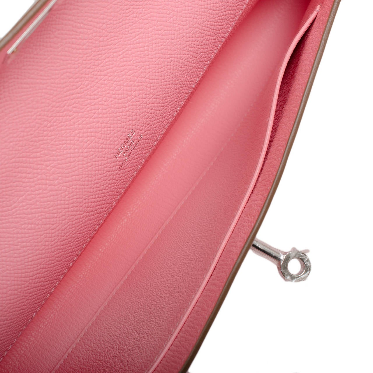 hermes kelly pochette rose confetti clutch bag epsom palladium hardware
