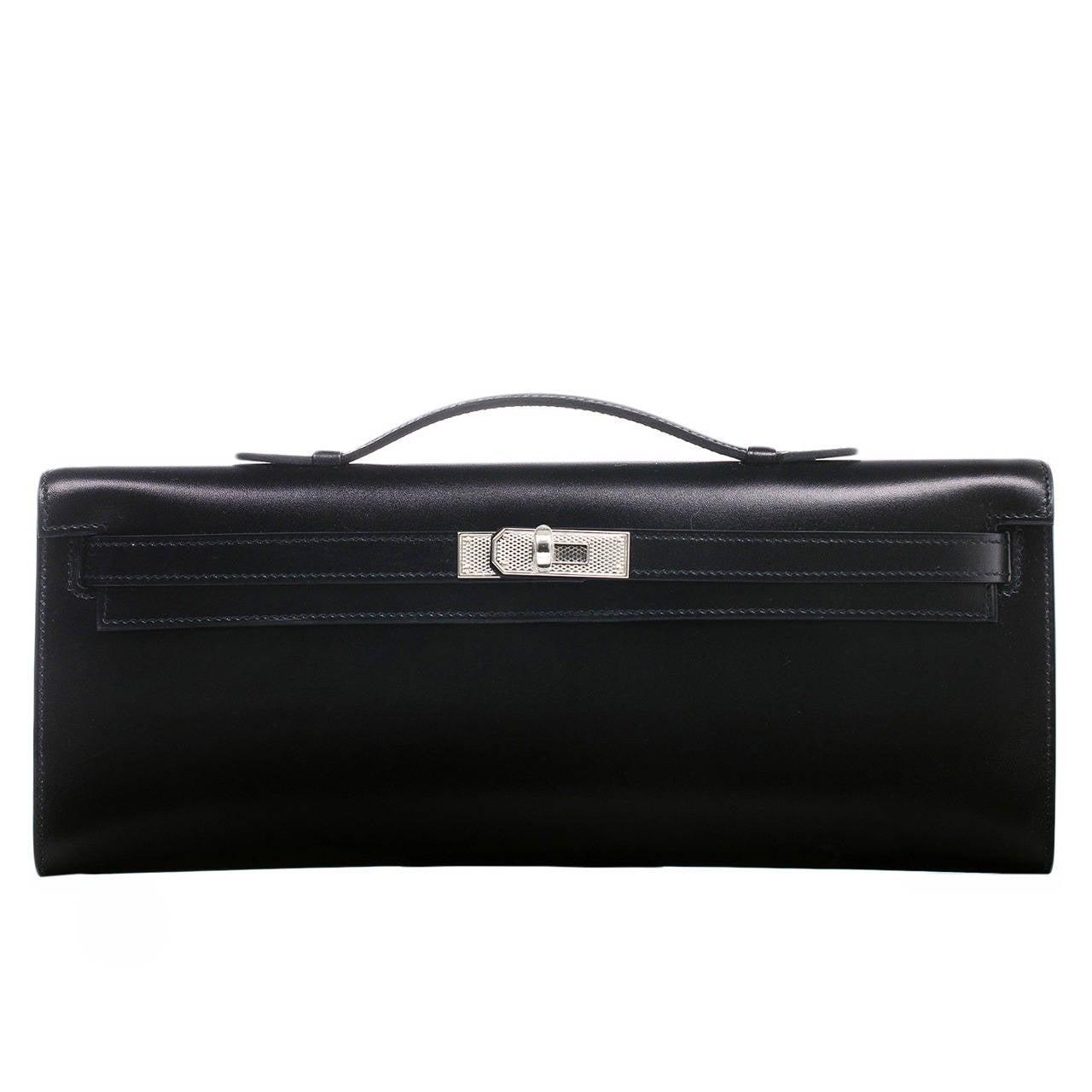 hermes bags for sale - Hermes Black Box Kelly Cut Palladium Guilloche Hardware at 1stdibs