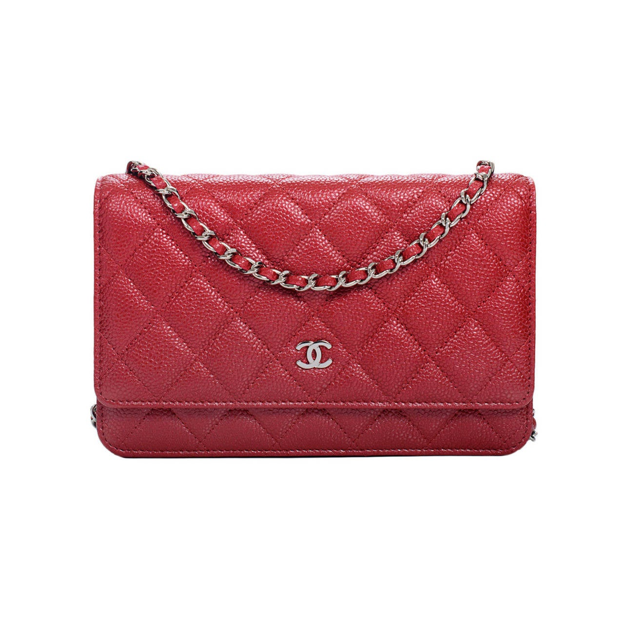 Chanel Dark Pink Classic Quilted Glazed Caviar Wallet On Chain (WOC) For Sale