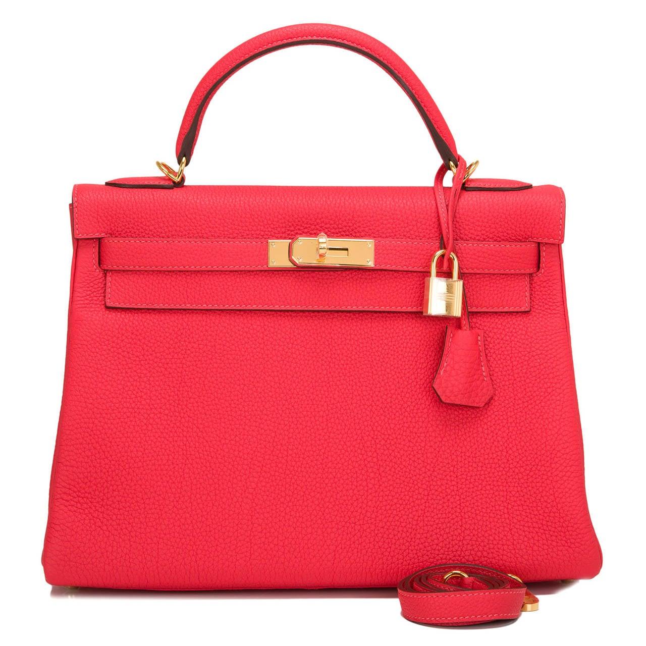 fake hermes leather purses - Hermes Rouge Pivoine Togo Kelly 32cm Gold Hardware at 1stdibs