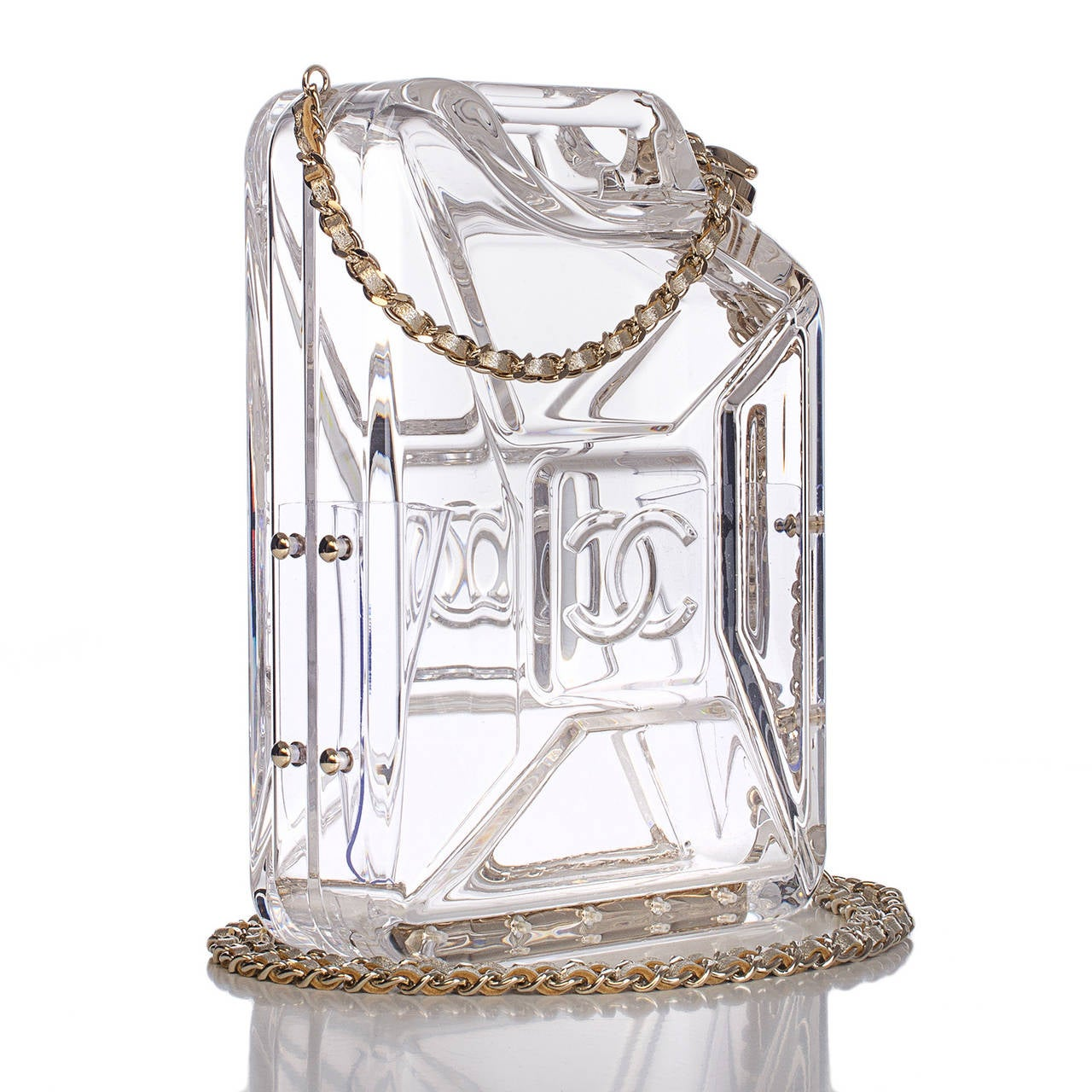 Chanel rare Dubai By Night Gas Tank minaudière bag of clear plexiglass with light gold tone metal hardware.