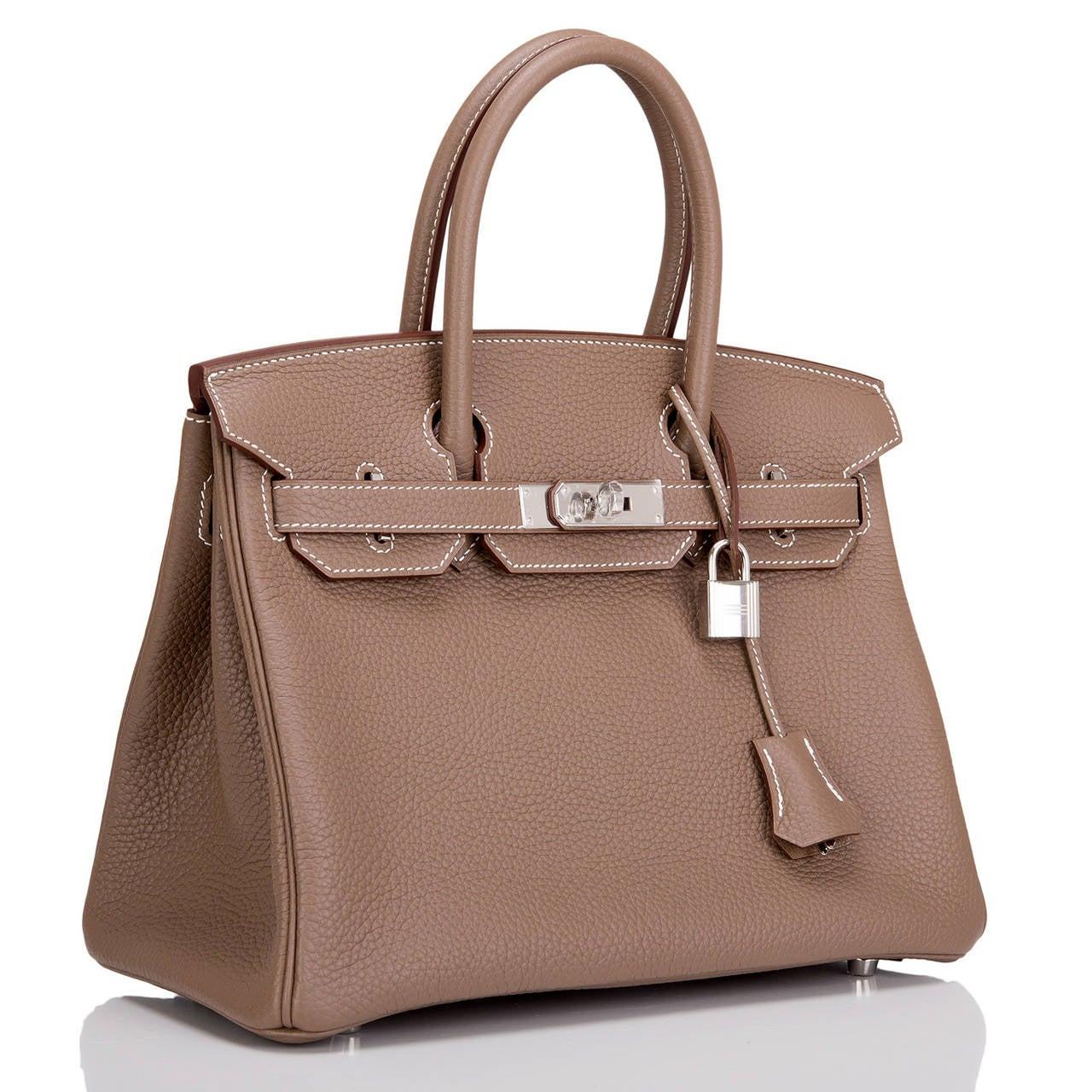 hermes paris handbags - Hermes Etoupe Clemence Birkin 30cm Palladium Hardware at 1stdibs