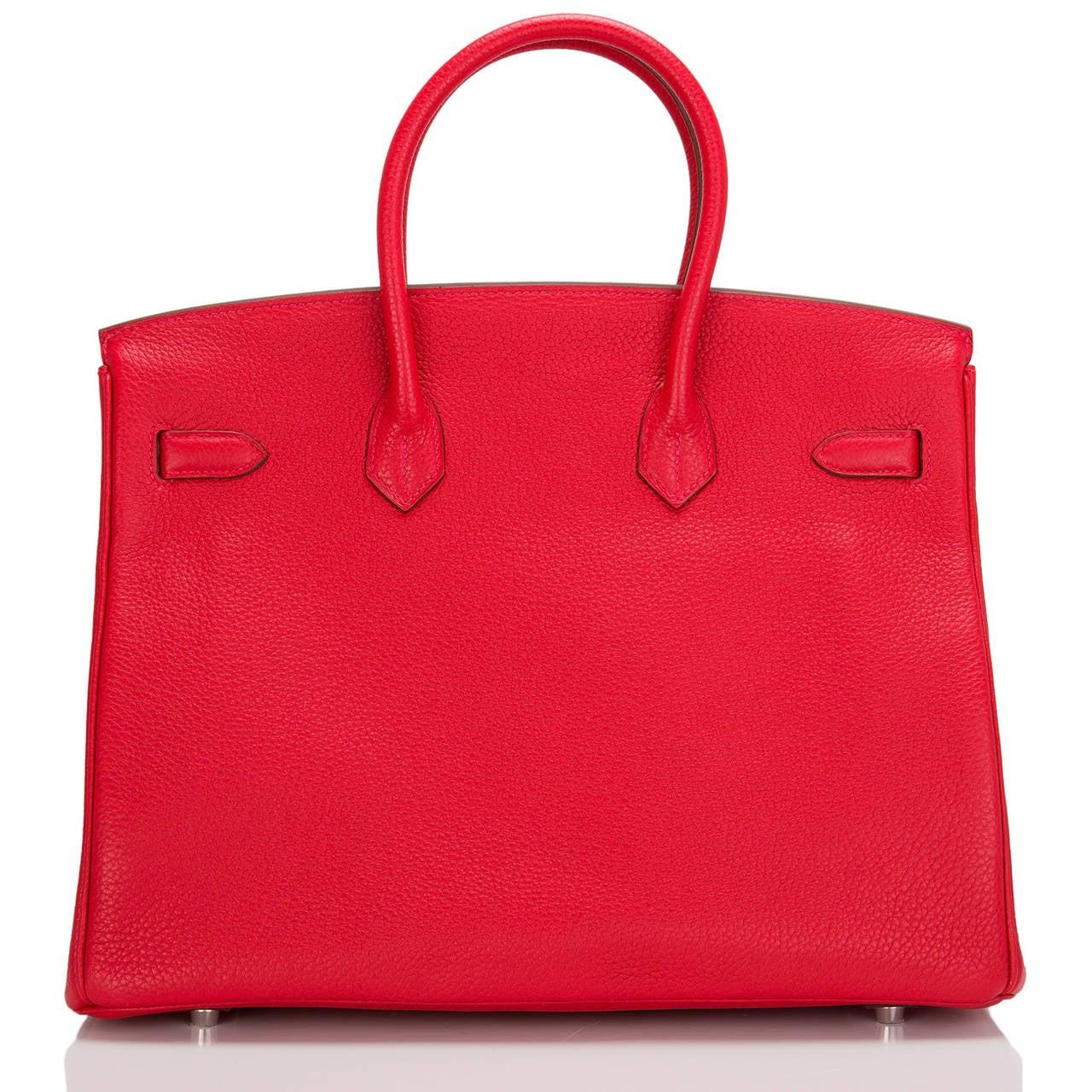 Red Hermes Rouge Casaque Clemence Birkin 35cm Palladium Hardware For Sale